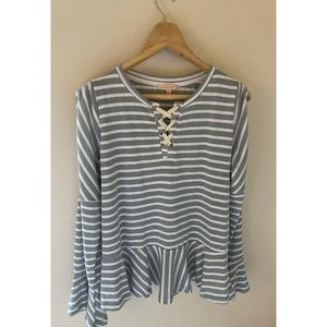 Skies are blue striped peplum top blouse